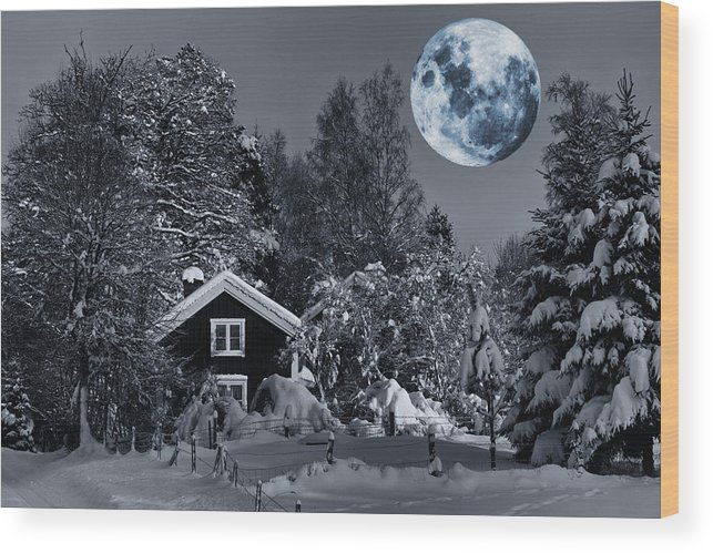 Cottage Wood Print featuring the photograph Old Cottage And Landscape With A Full Moon by Christian Lagereek