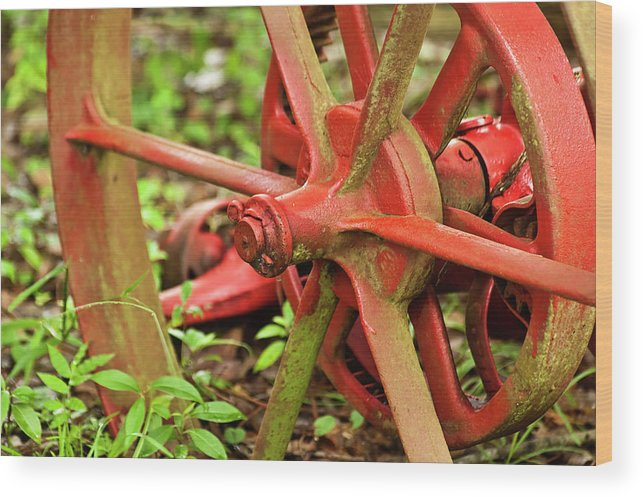 Farm Tools Wood Print featuring the photograph Old Farm Tractor Wheel by Carolyn Marshall