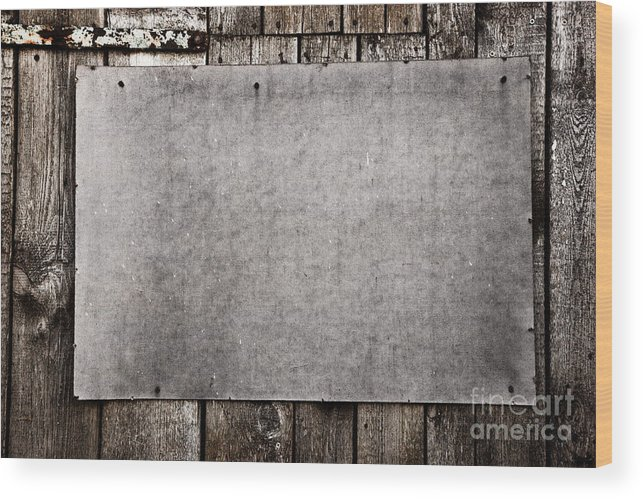 Grunge Wood Print featuring the photograph Old Grunge Plywood Board On A Wooden Wall by Michal Bednarek