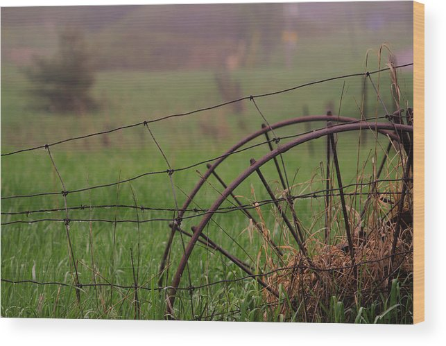 Rural Wood Print featuring the photograph Old Hay Rake Wheels by Jim Vance