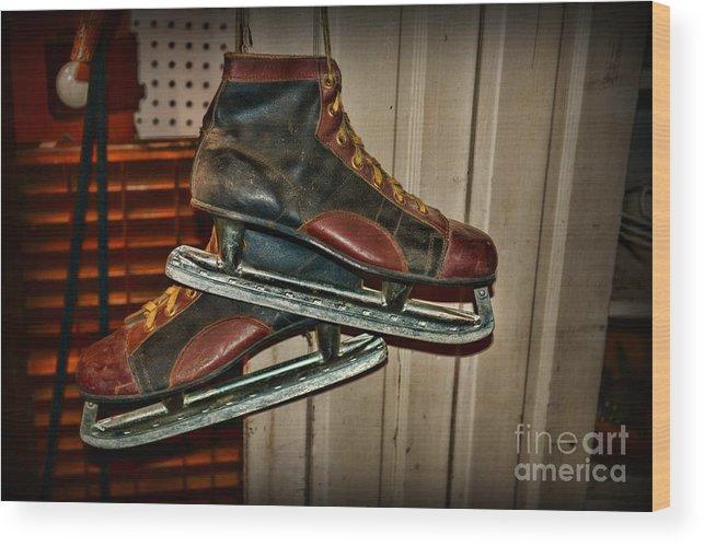 Paul Ward Wood Print featuring the photograph Old Hockey Skates by Paul Ward