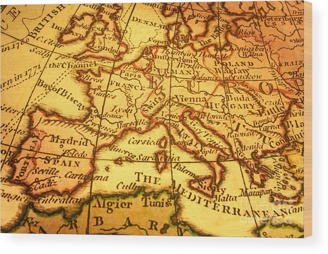 Old Map Of Europe And Mediterranean Wood Print