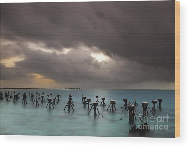Tranquil Scene Wood Print featuring the photograph Old Pier In The Florida Keys by Keith Kapple