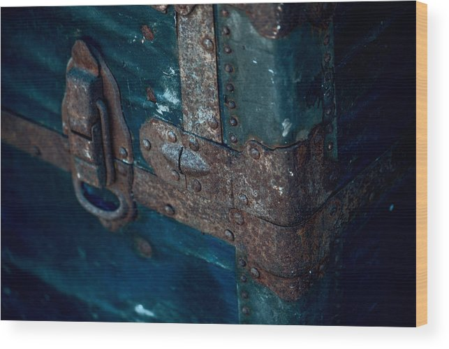 Old Trunk Wood Print featuring the photograph Old Steamer Trunk by Bonnie Bruno