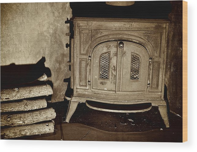 Old Wood Stove Wood Print featuring the photograph Old Wood Stove by Berkehaus Photography