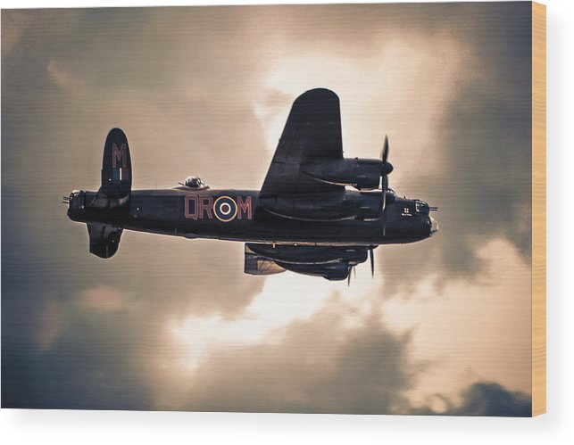 Lancaster; Bomber; Raf; Heavy; Wwii; Ww2; Arthur; Harris; Command; Aeroplane; Airborne; Aircraft; Aviation; Flight; Flying; Planes; Night; Sky; Target; Raid Wood Print featuring the photograph On Course by Chris Smith