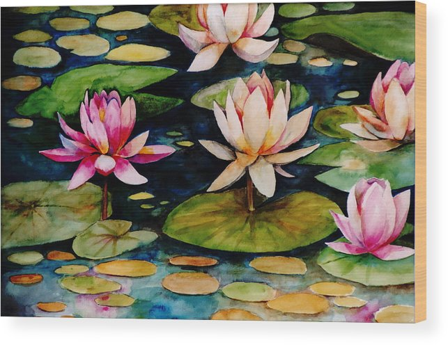 Lily Wood Print featuring the painting On Lily Pond by Jun Jamosmos