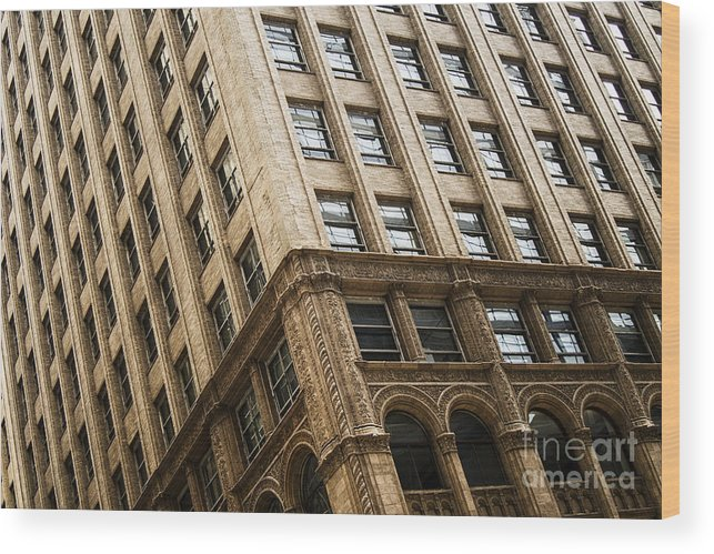 Architecture; Building; Facade; Side; Windows; Glass; Stone; Ornate; Highrise; Skyscraper; City; Urban; Tall; High; Office; Condo; Apartments; Corner Wood Print featuring the photograph On The Corner by Margie Hurwich