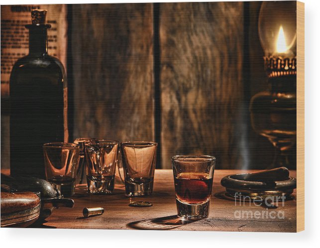 Saloon Wood Print featuring the photograph One Last Drink by Olivier Le Queinec