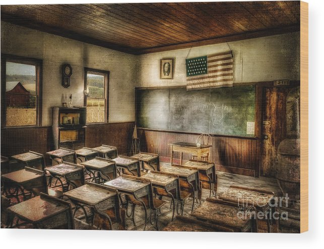 School Wood Print featuring the photograph One Room School by Lois Bryan