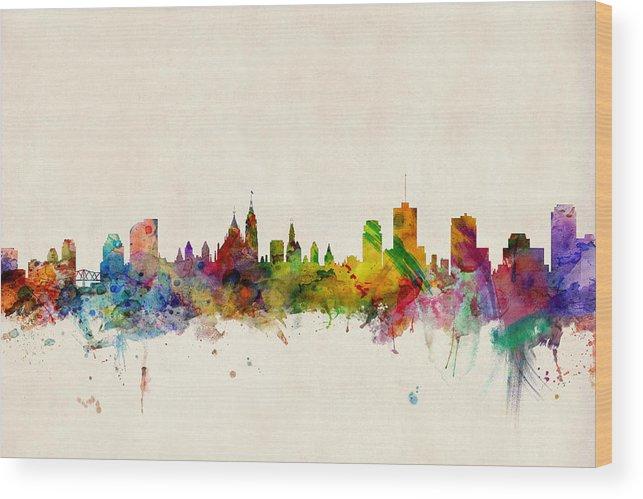 Ottawa Wood Print featuring the digital art Ottawa Skyline by Michael Tompsett