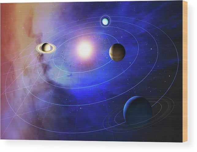 Sun Wood Print featuring the photograph Outer Solar System Planets by Mark Garlick/science Photo Library