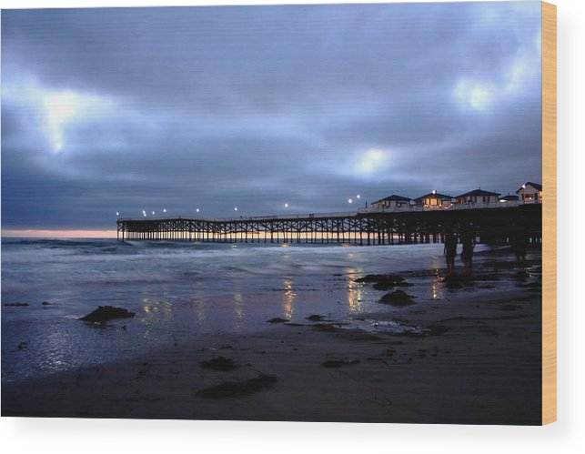 Beach Wood Print featuring the photograph Pacific Beach Pier by Carrie Warlaumont