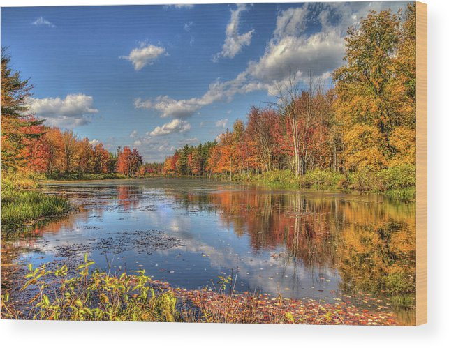 Scenics Wood Print featuring the photograph Paddle Not Needed by Joe Martin A New Hampshire Portrait Photographer
