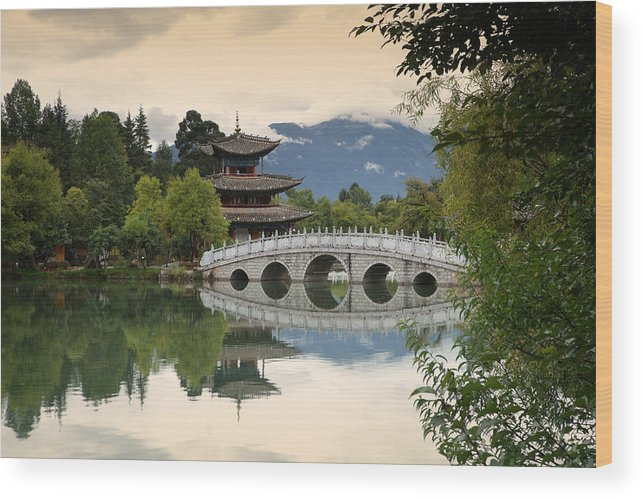 Architecture Wood Print featuring the photograph Pagoda, Black Dragon Pool, Lijang by David Santiago Garcia
