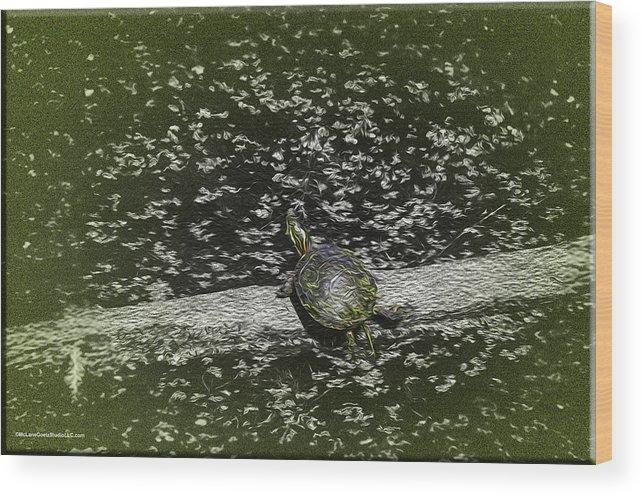 Usa Wood Print featuring the painting Painted Turtle Sleeping Like A Log by LeeAnn McLaneGoetz McLaneGoetzStudioLLCcom