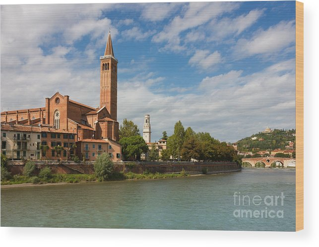 Sky Wood Print featuring the photograph Panoramic View Of Dominican Church Of Sant'anastasia In Verona by Kiril Stanchev