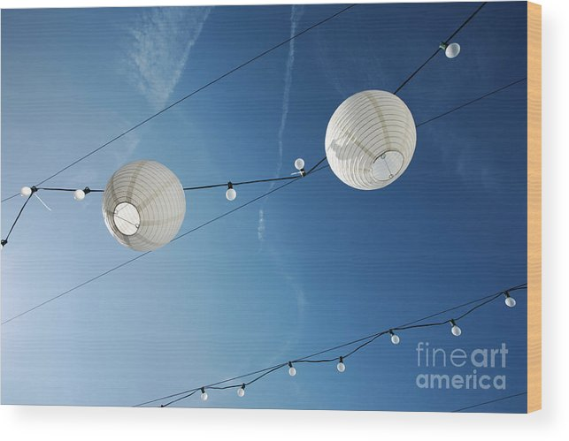 Sky Wood Print featuring the photograph Paper Lanterns by Konstantin Sutyagin