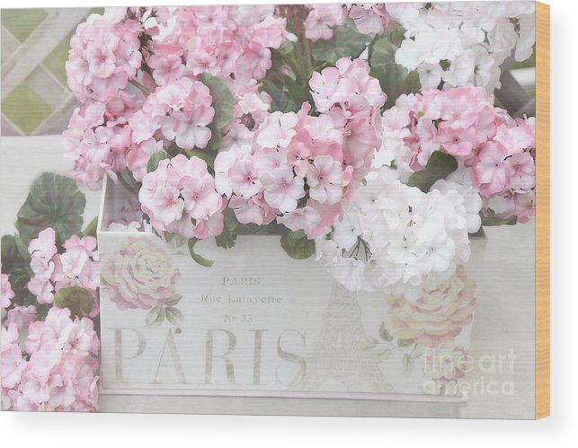 Shabby Chic Wood Print featuring the photograph Shabby Chic Paris Pink Flowers, Parisian Shabby Chic Paris Flower Box - Paris Floral Decor by Kathy Fornal