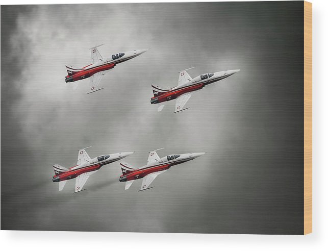 Airshow Wood Print featuring the photograph Patrouille Suisse by Leon