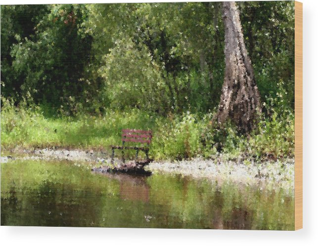 Peace Wood Print featuring the photograph Peace By The River by April Wietrecki Green