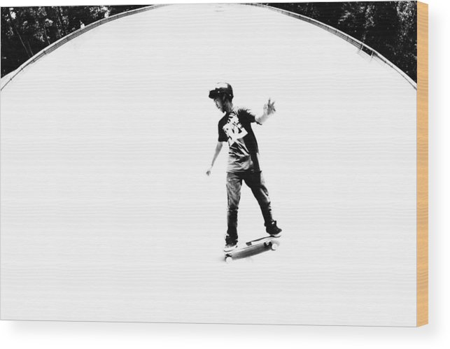 Skateboard Wood Print featuring the photograph Peace by Mick Logan