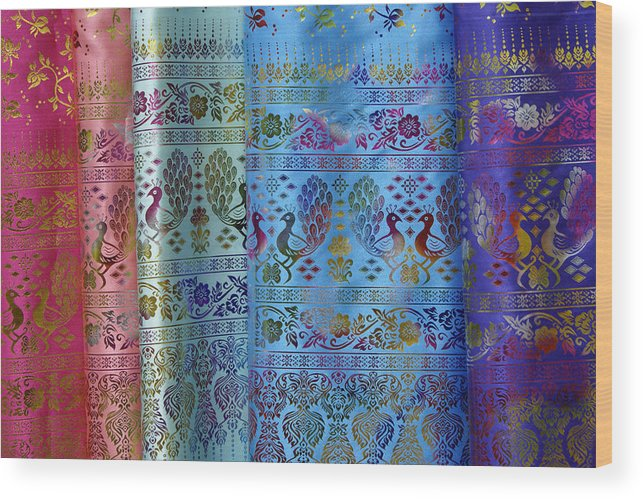 Asia Wood Print featuring the photograph Peacocks On Silk by Michele Burgess