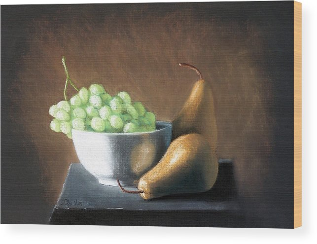 Pastel Wood Print featuring the painting Pears And Grapes by Joseph Ogle