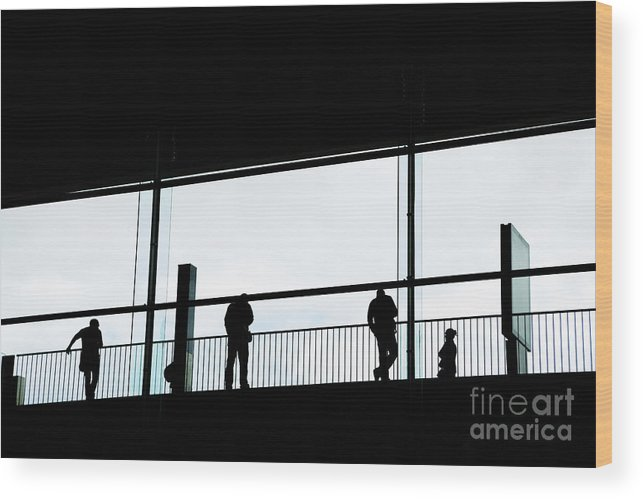 People Wood Print featuring the photograph People Silhouettes In Airport by Konstantin Sutyagin