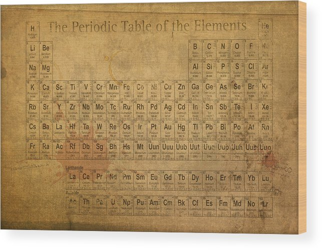 Periodic table of the elements wood print by design turnpike periodic wood print featuring the mixed media periodic table of the elements by design turnpike urtaz Gallery