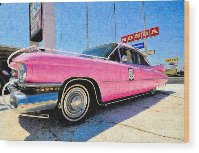 Pink Cadillac Wood Print featuring the photograph Pink Cadillac by Liane Wright
