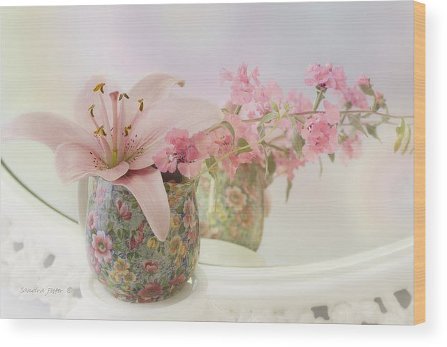 Pink Lily Wood Print featuring the photograph Pink Lily Rainbow by Sandra Foster
