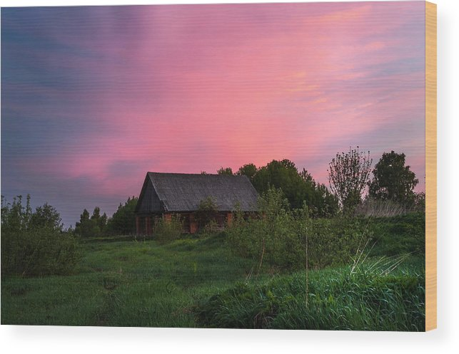 Landscape Wood Print featuring the photograph Pink Sunrise. Old Barn by Jenny Rainbow