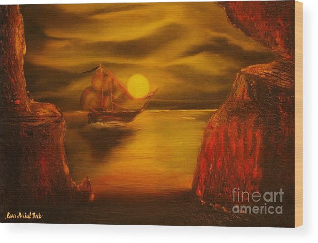 Cave Wood Print featuring the painting Pirates Cave- Original Sold - Buy Giclee Print Nr 27 Of Limited Edition Of 40 Prints by Eddie Michael Beck