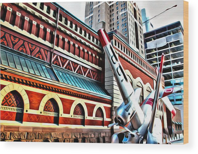 Philadelphia Wood Print featuring the photograph Plane In The City by Alice Gipson