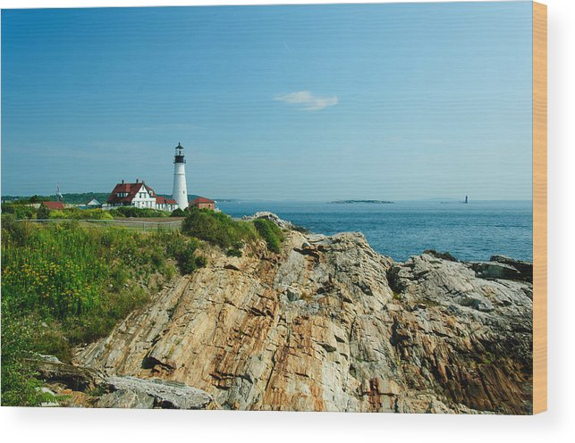 Cape Elizabeth Wood Print featuring the photograph Portland Head Light by Ralph Staples