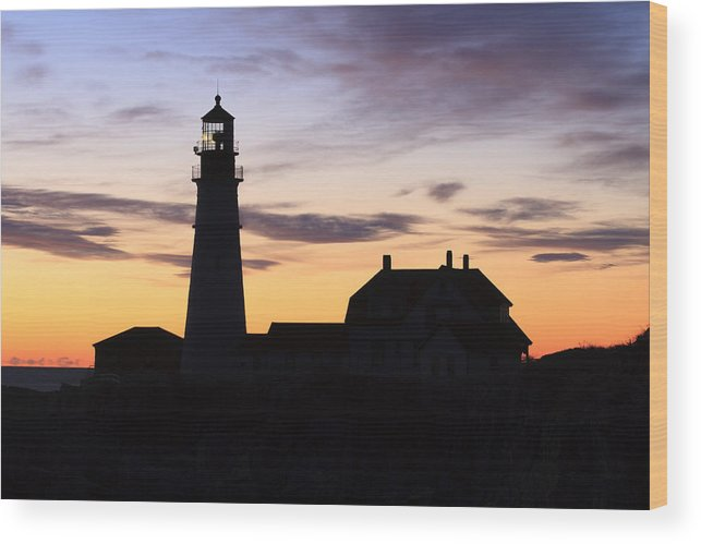 Portland Head Light Wood Print featuring the photograph Portland Head Light Silhouette by Shane Borelli