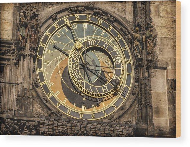 Joan Carroll Wood Print featuring the photograph Prague Astronomical Clock by Joan Carroll