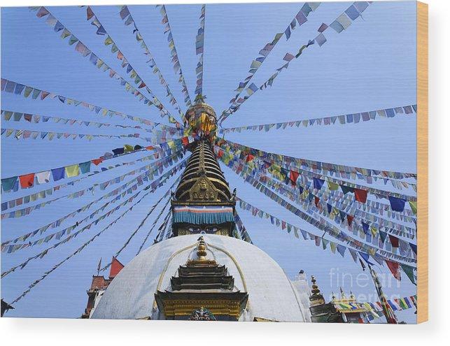 Stupa Wood Print featuring the photograph Prayer Flags And Stupa In Kathmandu by Robert Preston