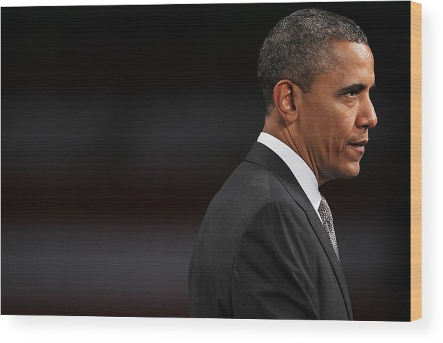 People Wood Print featuring the photograph President Obama Speaks On The Economy by Spencer Platt