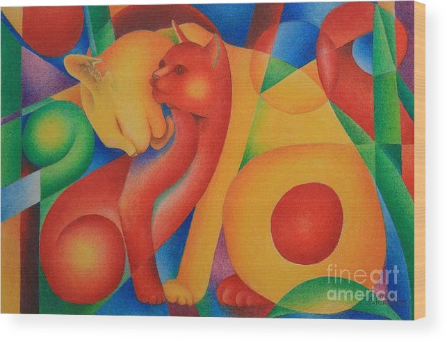 Red Wood Print featuring the painting Primary Cats by Pamela Clements