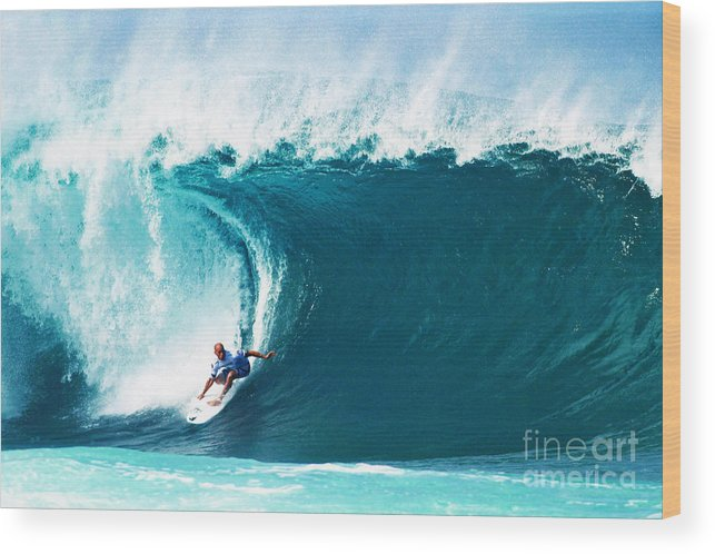 Kelly Slater Wood Print featuring the photograph Pro Surfer Kelly Slater Surfing In The Pipeline Masters Contest by Paul Topp