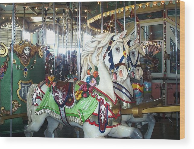 Carousel Wood Print featuring the photograph Proud Prancing Ponies by Barbara McDevitt