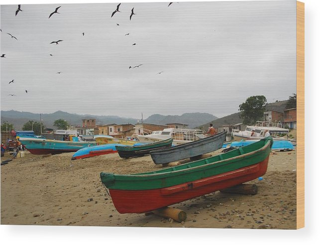 Beach Wood Print featuring the photograph Puerto Lopez Beach And Boats by Cascade Colors