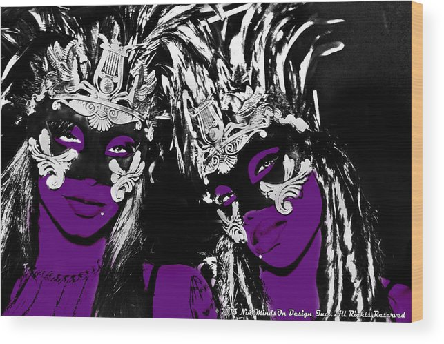 Two Wood Print featuring the photograph Purple Mask by Ley Clarie Gray