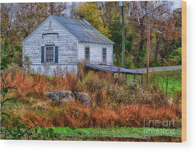 Rain Wood Print featuring the photograph Rainbow Roof by Scott Hervieux