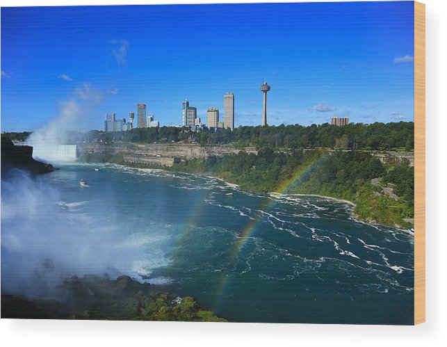 Rainbows Over Niagara Wood Print featuring the photograph Rainbows Over Niagara by Rachel Cohen