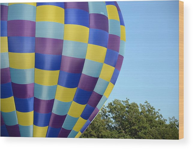 Hot Air Balloons Photographs Wood Print featuring the photograph Rectangles by Ricardo Dominguez