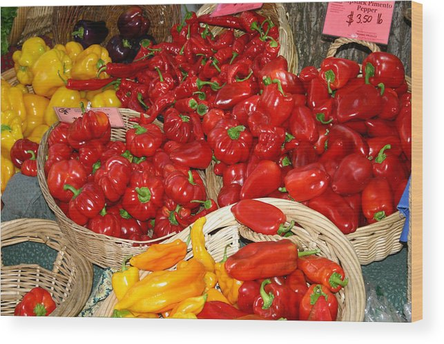 Peppers Wood Print featuring the photograph Red And Yellow Peppers by Wendy Raatz Photography