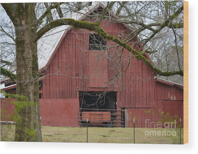 Rustic Wood Print featuring the photograph Red Barn Series Picture C by Barb Dalton